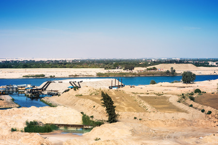 The Suez Canal - view from 2015 newly opened extension canal on the old canal