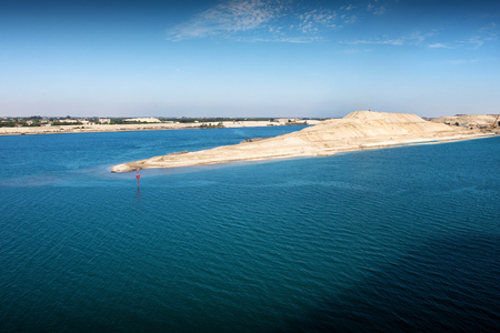 The Suez Canal - entry into the new extension canal at the end of the great Bitterlake, opend in August 2015