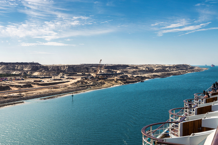 The Suez Canal - a ship convoy with a cruise ship passes the new eastern extension canal, opend in August 2015 Sajtókép