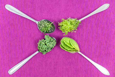 Vitamins - various herbs on spoons lie on pink cloth