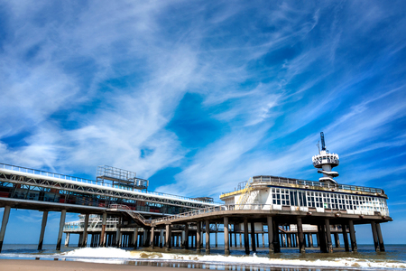 The beach of Scheveningen overlooking the old pier, Netherlands Stock Photo