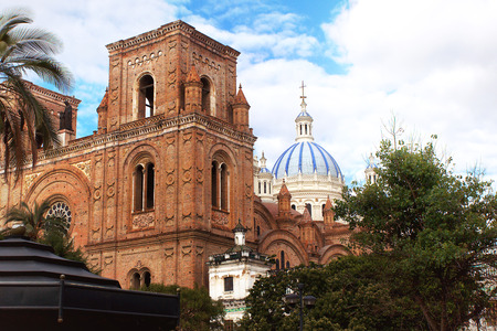 The Cathedral of the Immaculate Conception in Cuenca, Ecuador, partial view