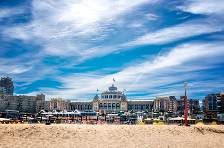 The hotel Kurhaus with beach in Scheveningen, the most famous seaside town in the Netherlands