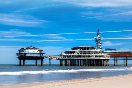 The beach of Scheveningen overlooking the old pier, Netherlands Stock Photo