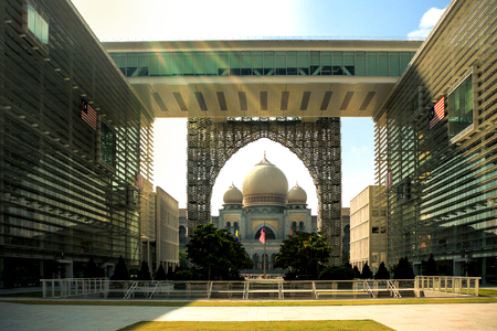 Government building overlooking the Palace of Justice in the planned city of Putrajaya, south of Kuala Lumpur, Malaysia
