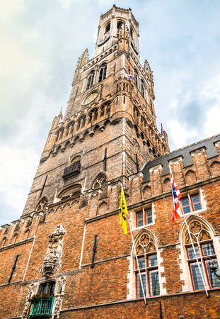 High-format shot of the famous Belfry at the Great Market in Bruges, Belgium