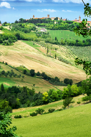 Gentle hilly landscape of Tuscany with a small village, Italy,  Portrait format