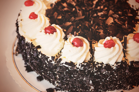 Closeup of a Black Forest Cherry Cake, vintage
