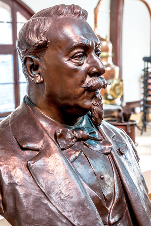 Fecamp  Normandy, France - September 23rd, 2014: Bust of Alexandre Le Grand, the founder of the liqueur distillery B?n?dictin SA, in the famous Palais B?n?dictine Editorial