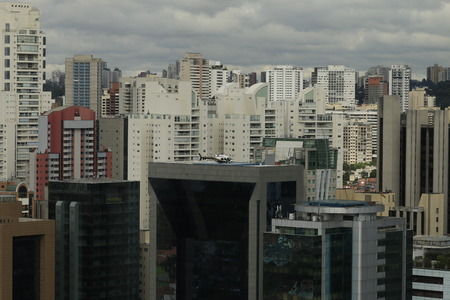 Helicopter on the Helideck on top of a building in Sao Paulo Brazil