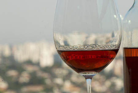A beautiful glass of rosé wine. Stock Photo