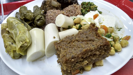 Delicious Arabian food on a plate with many varieties Banco de Imagens