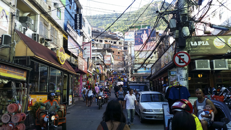 Rocinha community, lots of people, lots of houses, shops. Slum in Rio de Janeiro, Brazil South America Photo: December 20, 2016 Redakční