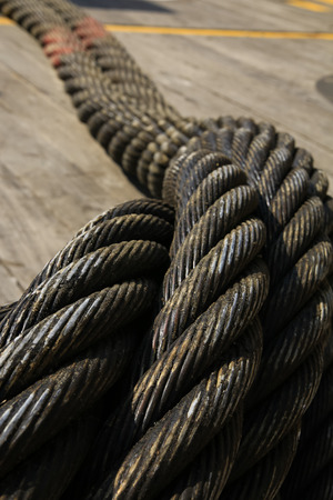 Heavy industry and offshore steel cable, blurred for background use Banco de Imagens