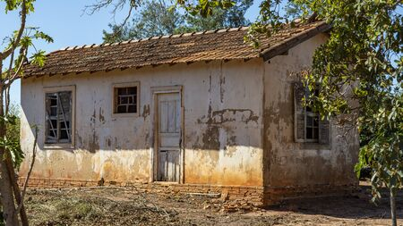 House very simple and poorly cared for a poor farm in Brazil.