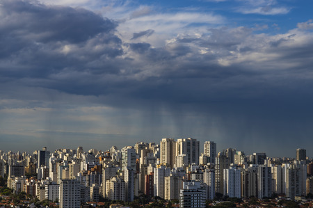 The storm is coming. Hurricane. Ground and sky. Cityscape. Sao Paulo city landscape, Brazil South America. Stock fotó