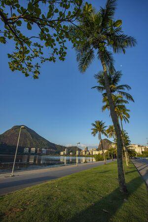 City of Rio de Janeiro, Brazil, Epitacio Pessoa Avenue and Rodrigo de Freitas lagoon. South America.