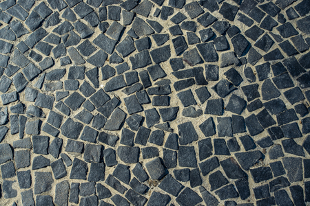 The Famous Copacabana Beach Sidewalk Pavement in Rio de Janeiro, Brazil. Portuguese tile mosaic. Abstract texture of decoration of the streets of the Brazilian city.