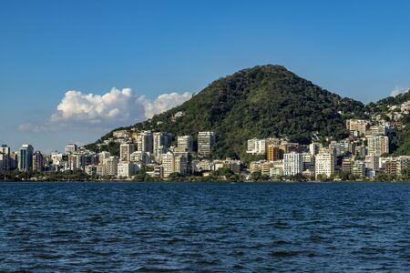 Luxury place of the lagoon. Location in Lagoa Rodrigo de Freitas in Brazil, city of Rio de Janeiro. Discover the beauty of the land. Stock fotó