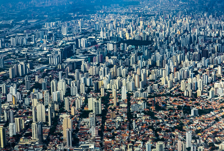 Metropole view from above. Aerial view of Sao Paulo city, Brazil South America.