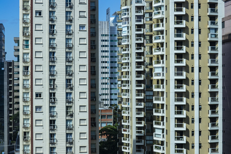 View at modern courtyard. Facade of modern building. Sao Paulo city, Brazil. South America.