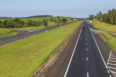 Auto Roads Straight. Highway Castelo Branco, Sao Paulo state, Brazil South America