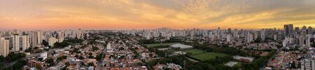 Panoramic view of beautiful cities. Sao Paulo city, Brazil, South America.