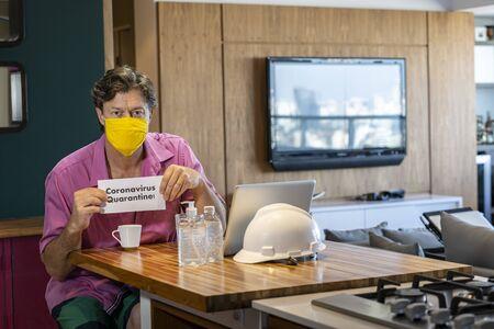 Quarantine worker man. COVID-19, coronavirus crisis.