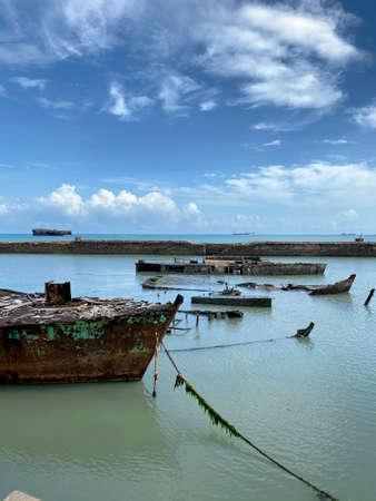 Sunk ship. Fortaleza city, State of Ceará, Brazil.