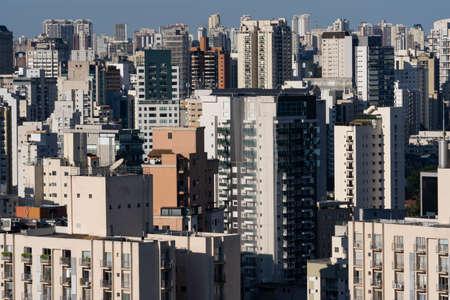 Big city, building and blue sky. Sao Paulo city, Brazil.