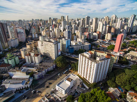 Metropole view from above. Aerial view of Sao Paulo city, Brazil South America. Pacaembu Avenue. Via Elevado President Joao Goulart. The district of Perdises and Barra Funda.
