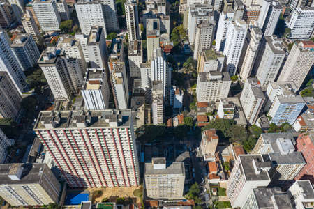 Aerial view of Sao Paulo, Brazil. District Cerqueira Cesar.