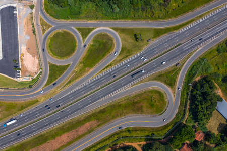 Aerial bird's eye view of the highways.