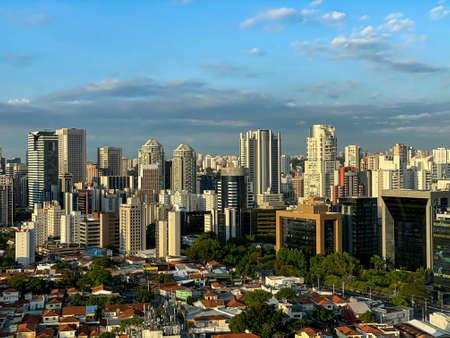 Big city, building, and blue sky. Sao Paulo city, Brazil.
