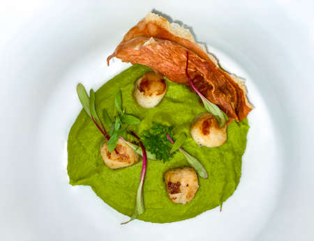 Gourmet food. Scallops with pea cream.