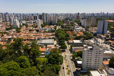 The aerial view of the city of Sao Paulo. Sao Paulo city, Santo Amaro street, Brazil. Stok Fotoğraf