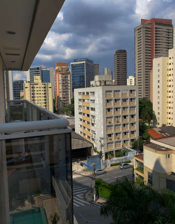 Building constructions in South America. Several different buildings. Sao Paulo city, Brazil.