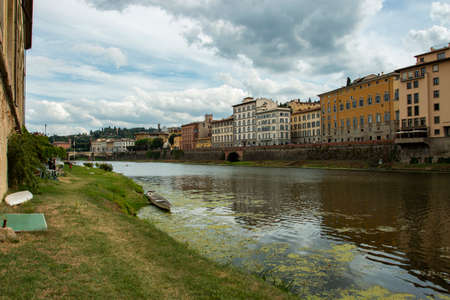 Florence on the river bank. City of Florence, Italy. Typical Italian city.