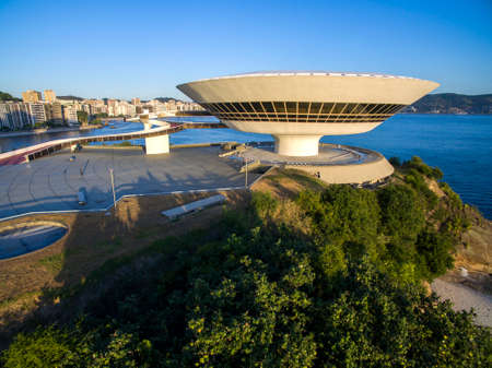 MAC Niteroi. Museum of Contemporary Art of Niteroi. Architect Oscar Niemeyer. Niteroi city, Rio de Janeiro state, Brazil.