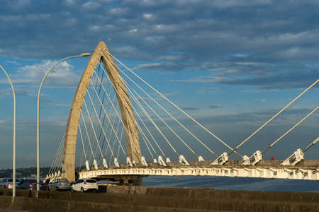 Cable-stayed bridge. Bridge over Ilha do Fundao with Rio de Janeiro, Brazil.