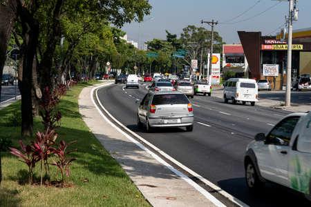 Traffic in the city of Sao Paulo. Sao Paulo city, Brazil. Imagens - 165088090