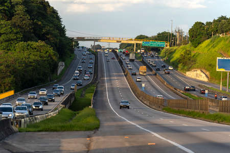 Famous roads in the world. Presidente Dutra highway. Sao Jose dos Campos city, Sao Paulo state, Brazil. Editöryel