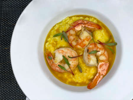 Shrimp risotto. Gourmet food. Stok Fotoğraf