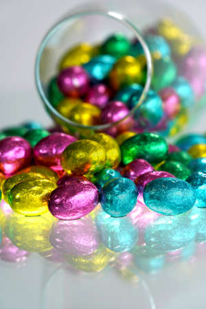 Stack of Easter eggs. Easter party. Imagens