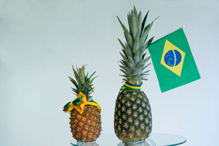 Flags country in fruits.Pineapple with the flag of Brazil.