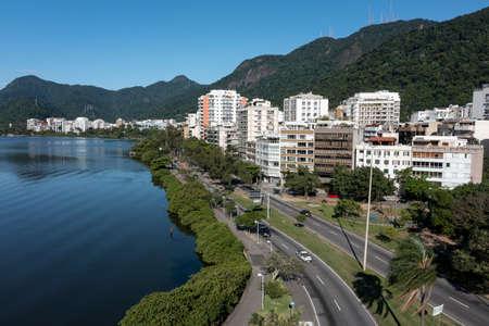 City of Rio de Janeiro, street Borges de Medeiros, Rodrigo de Freitas Lagoon, Brazil.