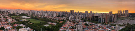 Panoramic view of a beautiful sunset in the city.