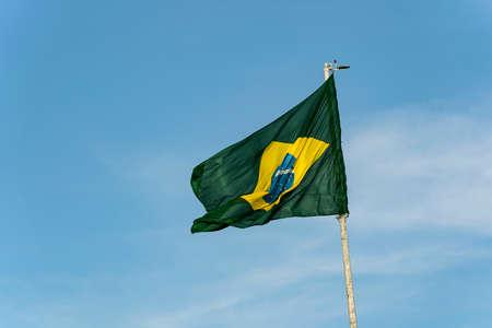 Brazils flag. Flag of Brazil in the wind.