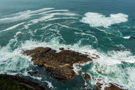 Sea and rocks. Aerial view of sea waves and fantastic Rocky coast. Stockfoto