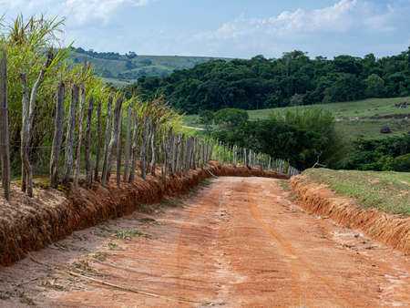A dirt road going down. Stockfoto